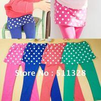 FREE SHIPPING  Children clothing  girl leggings cotton  girl dot leggings with skirt
