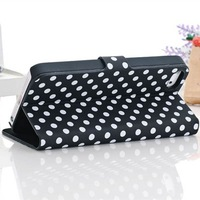 Free Shipping!Fashion Polka Dot Wave Magnetic Flip Cover PU Leather Stand Protective Case For apple iphone 5 5G Cell Phone Cases