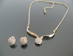 N0651 Vintage jewelry gold plated Fashion full rhinestone jewelry sets stud earrings necklaces for women wholesale TP2.99(China (Mainland))