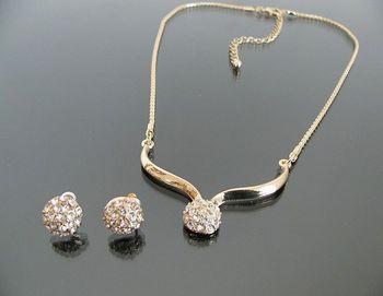 N0651 Vintage jewelry gold plated Fashion full rhinestone jewelry sets stud earrings ...