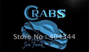LK655- Crabs Fresh Seafood Restaurant Neon Light Sign   hang sign home decor shop crafts led sign