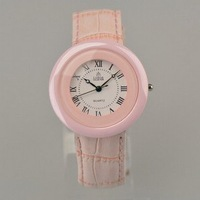 100% Authentic LOBOR brand White ceramic pink leather embossed strap women watch pink surface Factory Outlet LB-S8165L/4