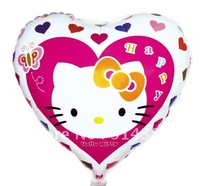 Free shipping  wholesale 50pcs/lot aluminum foil helium balloons hello kitty balloon mylar balloon