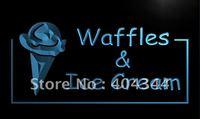 LK723- Waffles Ice Cream Cafe Shop Neon Light Sign   hang sign home decor shop crafts led sign