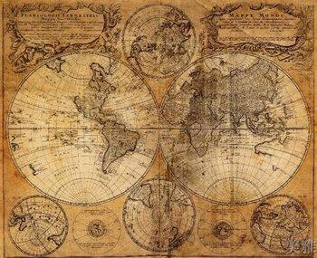 Antiguo mapa del mundo, para la decoración del hogar