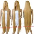 120cm 49'' Long Rapunzel Tangled Light Golden Blonde Straight Cosplay Hair Wig