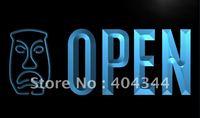 LK832- OPEN Tiki Bar Mask Beer Pub NEW Neon Light Sign   hang sign home decor shop crafts led sign