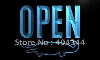 LK858-TM OPEN Crocodile Display Shop Bar Neon Light Sign.  led sign