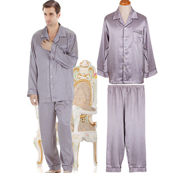 2013 NWT autumn male mens silk satin pajamas sets long-sleeve sleepwear nightwear 2 pc top trousers twinset lounge pants 66003