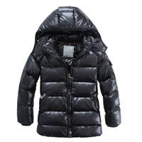 2012 winter children's clothing child down coat male female child black matt thermal