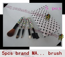 NEW PRODUCT ! brand5 pcs profession Makeup Brush + Beauty Leather Case NYLON soft hair free shipping DHL 32set/lot(China (Mainland))