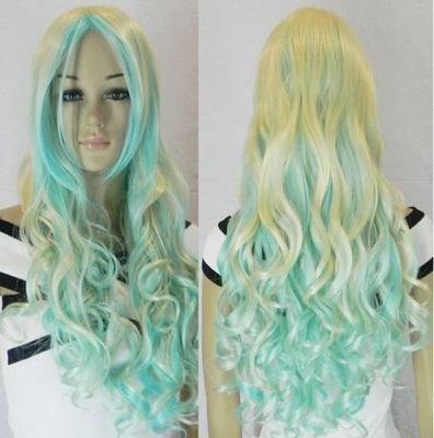 New Cosplay long light golden & light blue mix Hair wig(China (Mainland))