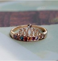 Free Shipping 4pcs/Lot Retro Gold Crown Colorful Crystal Rings New Arrivel Ring Z-C4010