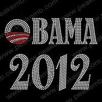 30pcs/Lot Wholesale Free Shipping Hotsale 2012 Obama Iron On Flatback Rhinestones Transfer Motif
