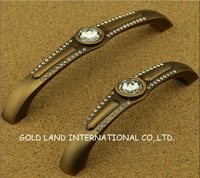 128mm Free shipping K9 crystal glass zinc alloy kitchen cabinet handle/furniture drawer handle