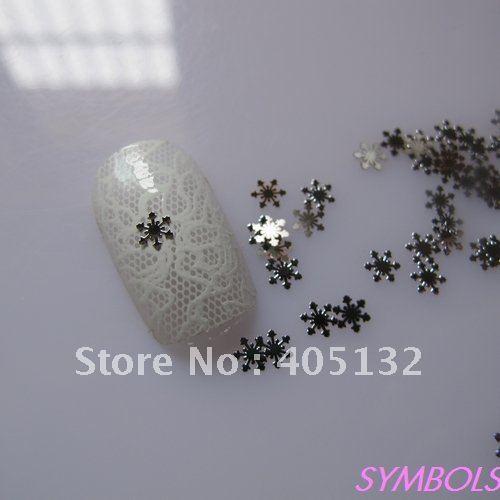 MS-45-1 Free Shipping Metal Silver Snowflake Nail Art Metal Sticker Nail Art Decoration Fancy Outlooking(China (Mainland))