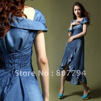 freeshipping!newest!!demin skirts!Fashion vintage oblique slit neckline slim dovetail expansion denim one-piece dress full dress
