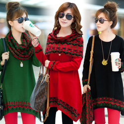 2012 autumn and winter new arrival loose women's long-sleeve knitted plus size one-piece dress muffler scarf(China (Mainland))