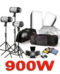 900W STUDIO LIGHTING FLASH STROBE KIT PHOTOGRAPHY LIGHT 3X300W +TRIGGER +Barn Door +SOFTBOX +UMBRELLA +BAG(China (Mainland))