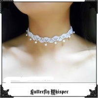 Cool Classical style white lace necklace free shipping