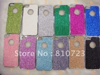 New PC Metal Hard Cover Case shiny pearl powder with silver frame for iPhone 5 5Gs 5th,10pcs/lot +Free shipping