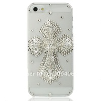Free shipping/New Fashion Bling Crystal Rhinestone Hard Cover Case for iphone5  cross lovely fashion hot Sell Christmas gift
