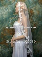 Magnificent Mantilla Veil Fingertip/Chapel Alencon Lace Edge Wedding Bridal Veil