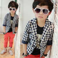Latest children's clothing spring and autumn male child boy blazer plaid casual suit  100% cotton ploughboys outerwear