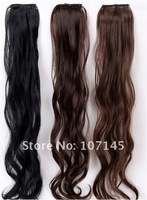 2013 New On Sale 5pc/Lot Women Black Brown 2 Clips-On In Long Curly Wave Synthetic Hair Extensions Virgin Brazilian Hair Pieces