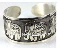 10 PC Hot Sell! New Tibetan Tibet Silver Elephant Cuff Bangle Bracelet  Free shipping