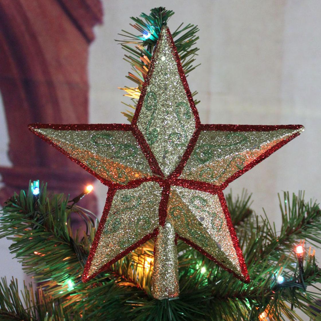 زيتة عيد الميلاد -font-b-Christmas-b-font-19cm-colored-font-b-drawing-b-font-tree-top-font