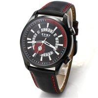 EYKI Men's Sports Leather Wrist Watch Calendar Waterproof Quartz Watch 1pc