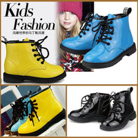 Clearance Stock ! 2014 Spring Autumn child martin boots male child female child lacing side zipper martin boots shoes