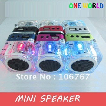 freeshipping 10pc/lot LED Crystal Mini Speaker with FM Radio Micro SD card reader for mp3,table pc,mobilephone
