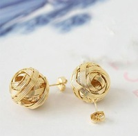 Min.order is $8 (mix order), Promotio Golden Earrings, Fashion Cute Golden Woven Ball Earrings E071