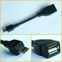 Micro 5 Pin Male USB to USB 2.0 Female USB OTG Host Extension Cable Converter Black color 500pcs/lot