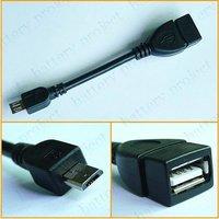 Micro 5 Pin Male USB to USB 2.0 Female USB OTG Host Extension Cable Converter Black color 500pcs/lot