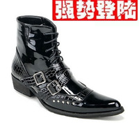 2012 personalized pointed toe japanned leather rivet british style knee-high men's boots european version of the fashion boots