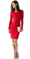 2012 cheap long sleeve red/black stock spendex celebrity party bandage dress