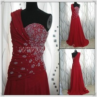 PP2558   Free Shiping beaded Red chiffon A-line Halter Evening dress 2012