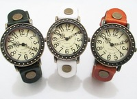 Vintage Real Leather Women Men's Watch -- Black / Coffee/ Light Brown/ Red/ white/green JQ brand