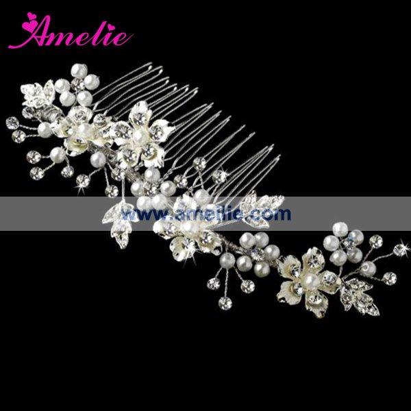 Free Shipping Hot Selling Wholesale Silver Pearl Floral Crystal Bridal Headpieces Bbridal Hairwear(China (Mainland))