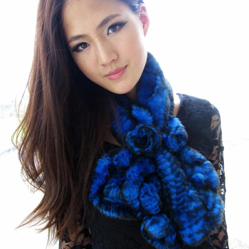 Fashion new Ladies' fur scarf,Elegant women's ruffle rex rabbit scarf,All-match rabbit fur muffler scarf collars FSOL021(China (Mainland))