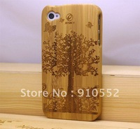 Free Shipping Natural Bamboo Wood Case for iPhone 4G 4S