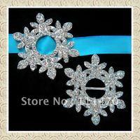 Free shipping (100pcs/lot) 100% good quality 10mm inner bar snowflake rhinestone buckle ribbon