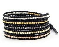 New vintage style friendship weaving leather 5 wrap bracelet african jewelry natural stone bead handmade bracelet CL-348