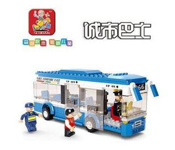 SLUBAN little small luban New creative plastic toy bricks puzzle blocks city bus single-deck buses free shipping