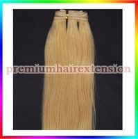 "14""16""18""20""22""24""26"" machinie weft hair extensions remy human hair weaving extensions weft  # 24 blonde 100g/pc 4pcs"