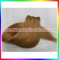 "DHL FREE 16""18""20""22""24""26"" human hair weave extensions machine weft remy hair extensions # 12 light golden brown 100g/pc 3pcs"