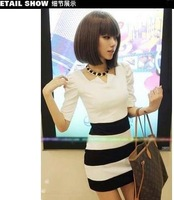 hot sale New stripe slim bubble dress,party dress  free shipping